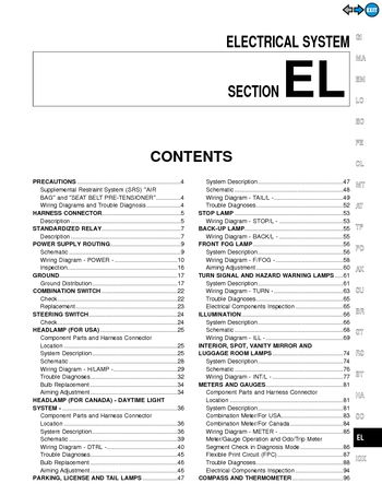 2000 Nissan Pathfinder Electrical System (Section EL) (in English)