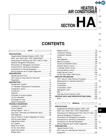 2000 Nissan Pathfinder Heater & Air Condition (Section HA) (in English)