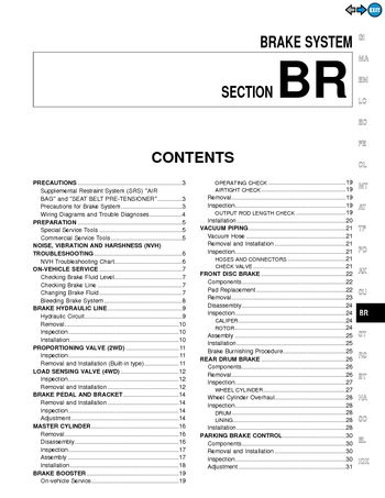 2000 Nissan Pathfinder Brake System (Section BR) (in English)