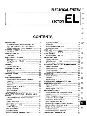 1999 Nissan Pathfinder Electrical System (Section EL) (in English)