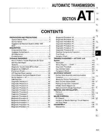 1996 Nissan Pathfinder Automatic Transmission (Section AT) (in English)