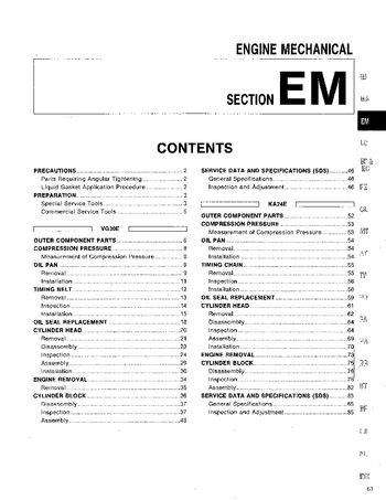 1994 Nissan Pathfinder Engine Mechanical (Section EM) (in English)