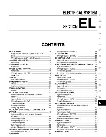 2000 Nissan Quest Electrical System (Section EL) (in English)