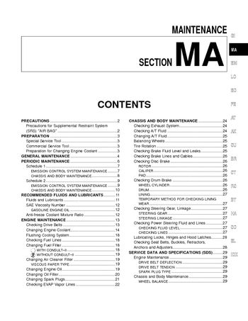 2000 Nissan Quest Maintenance (Section MA) (in English)