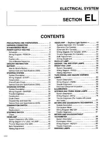 1999 Nissan Sentra Electrical System (Section EL) (in English)