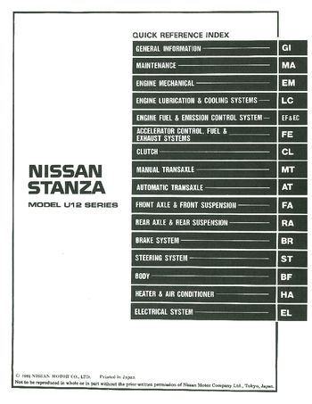 1992 Nissan Stanza Repair Manual (in English)