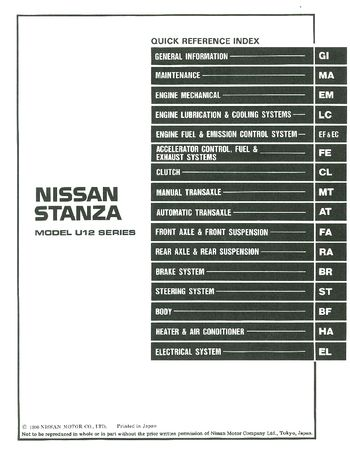 1991 Nissan Stanza Repair Manual (in English)