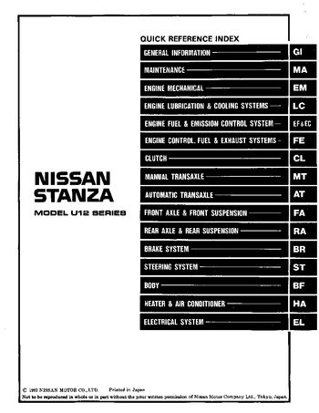 1990 Nissan Stanza Repair Manual (in English)