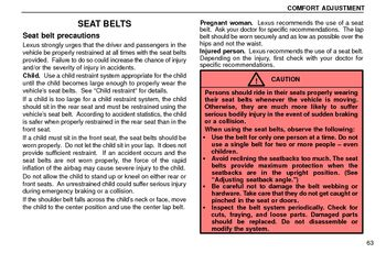 1997 Lexus ES300 Seat Belts, SRS and Child Restraints (in English)