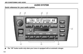 1997 Lexus ES300 1997 ES300 - Audio System (in English)
