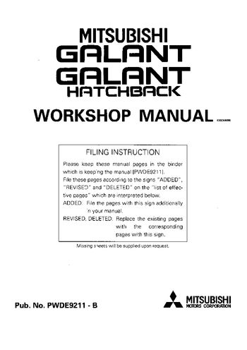 1993 Mitsubishi Galant Hatchback Workshop Manual (in English)