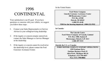 1996 Lincoln Continental Owner's Manual (in English)