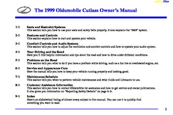 1999 Oldsmobile Cutlass Owner's Manual (in English)