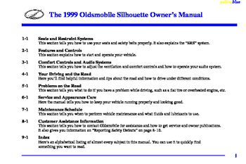 1999 Oldsmobile Silhouette Owner's Manual (in English)