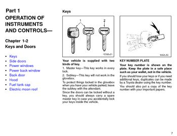 1996 Toyota 4Runner Keys and Doors (in English)